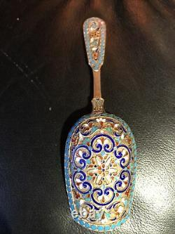 Antique Imperial Russian Silver Gilt & Cloisonne Caddy Spoon Exceptional Piece