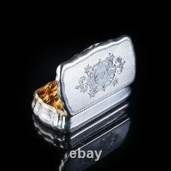 Antique Imperial Russian Silver Table Snuff Box with Vermeil 19th C