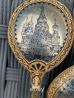 Antique Imperial Russian Silver gilt Niello enamel Spoons Ovchinnikov Moscow