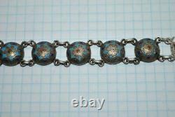 Antique Imperial Russian Sterling Silver 84 Enamel Jewelry Bracelet Signed