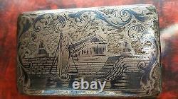 Antique Imperial Russian silver niello enamel 84 snuff box 1851 Moscow