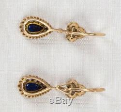 Antique Russian 14K Gold Sapphire Diamond Pear Drop Pre-1917 Imperial Earrings
