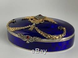 Antique Russian Faberge Silver Royal Blue Guilloche Enamel Diamonds Large Box