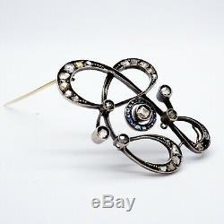 Antique Russian Imperial Art Nouveau Deco 56 Gold Diamond Sapphire Brooch Pin