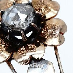 Antique Russian Imperial Diamond 56 Gold 14K Silver Brooch Pin Pendant Jewelry