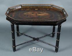 Antique Russian Imperial Royalty Tole Tray Table with Painting Circa 1850's