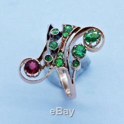 Antique Russian Nouveau Ring Demantoid Garnet Spinel 14k Gold (6717)