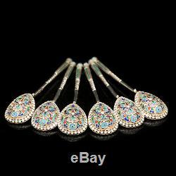 Antique Russian Silver Cloisonne Enamel Spoons Set of 6 c. 1900