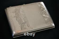 Antique Russian Solid Silver St Petersburg Gilded Cigarette Case 20th Century
