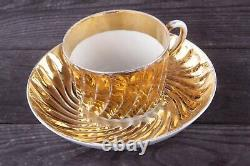 Antique Tea cup saucer set Gold plated Kuznetsov Imperial Russian porcelain