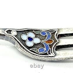Antique imperial russian Enamel Silver 84 Fork