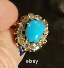 Antique turquoise and diamonds 18K gold ring Russian Imperial