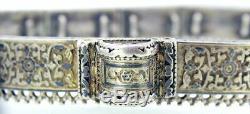 CIRCA LATE 1800s ANTIQUE RUSSIAN IMPERIAL NIELLO 84 SILVER ORNATE BELT