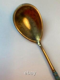 Cloisonne Enamel Spoon Silver / Gold Wash Gustav Klingert Imperial Russian 1899