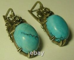 Earrings 84 Silver Turquoise Imperial Russian 1908
