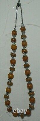 Faberge Necklace Amber Silver 84 Imperial Russian Petersburg 1897