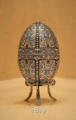 Fabrege Antique Russian Imperial Silver 84 Cloisonne Enamel Easter Egg