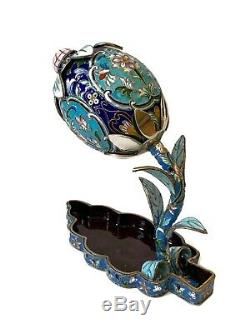 Gorgeous Antique Imperial Russian 84 Silver & Cloisonné Enamel Tray & Egg Flower