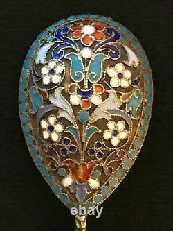 Great Spoon Cloisonne Enamel Silver 84 Gustav Klingert Russian Imperial Antiques