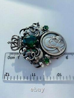 Huge Antique Russian Imperial Sterling Silver 84 Women Jewelry Pendant Icon 32gr