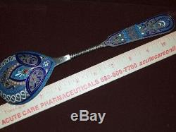 Huge Russian Imperial Silver 84 Enamel Large Spoon Ruckert For Faberge Antiques