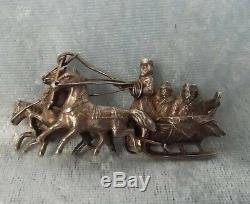 Imperial Antique Russian Cossack Sledge 840 Silver Brooch