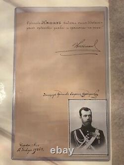 Imperial Antique Russian Document Signed By Tsar Nicholas II Romanov+from USA