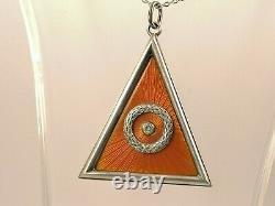 Imperial Antique Russian FABERGE GUILLOCHE ENAMEL Silver 84 pendant