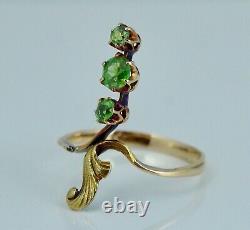 Imperial Russian 14K Green Demantoid Garnet Ring Moscow Art Nouveau Antique 56