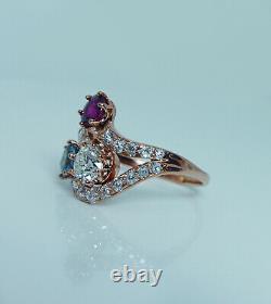 Imperial Russian European Diamond Ruby Aquamarine Ring 14K Pink Gold Antique56
