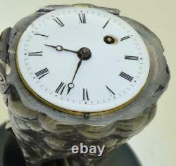 Imperial Russian Khlebnikov silver owl figure verge fusee clock c1891. RARE