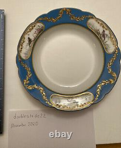 Imperial Russian Porcelain Dinner Bowl From 1901 Alexandrinsky Turquoise Service