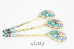 Imperial Russian Silver-Gilt and Enamel Cloisonné Spoon Set of 12+Box, 84 Moscow