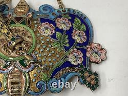 Imperial Russian enamel silver belt buckle. 11th Artel Moscow. Antique