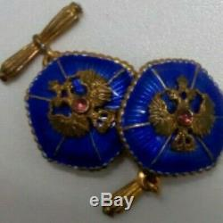 Imperial Russian silver sterling Faberge design cufflinks rare Royal