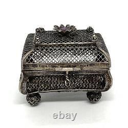 Judaica Antique Imperial Russian Silver 91 Amethyst Spice Filigree Box. 66.8gm