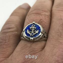 K. FABERGE Russian Imperial 88 Silver Enamel Ring Emperor Yacht Club Sapphire