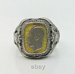 K. FABERGE Russian Imperial 88 Silver Enamel Ring Nicholas II