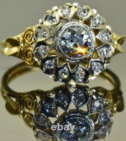 Magnificent antique Imperial Russian Faberge 18k gold&1ct F/FL Diamond ring. Box