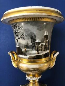 Pair of Antique mid-19C Imperial Russian Porcelain Vases/Urns