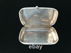 Rare Antique Imperial 84 Russian Niello Silver Cigarette Vesta Case Horse Sleigh