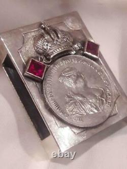 Rare Antique Imperial Russian Sterling Silver 84 Matchstick Case Anna & Eagle