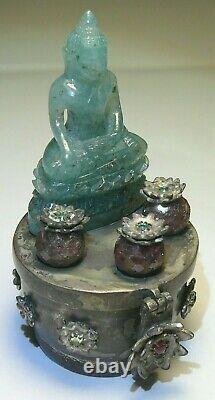 Rare Box Silver 84 Emerald Rubies Carved Stone Buddha Akshobaya
