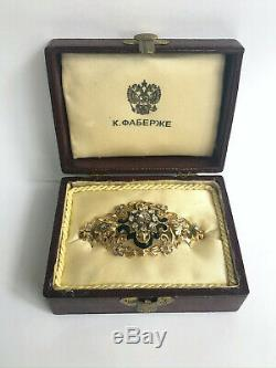 Rare Imperial Russian Faberge Diamond Brooch Pin 18k Gold 72 M. Perkhin Antique