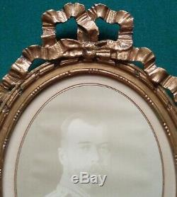 Rare Large Russian Imperial Antique Photo of Tsar Nicholas II Romanov Gilt Frame