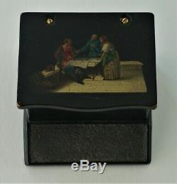 Rare Lukutin Antique Imperial Russian Lacquer Match Safe 1850