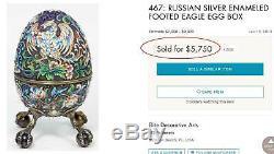 Rare Original Russian Imperial Silver & Cloisonne Egg