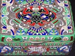 Rare Russian Imperial Silver 88 Cloisonne Enamel Box Antique Ruckert For Faberge