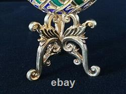 Rare Soviet Russian Cloisonne Enamel 88 Silver Faberge Egg 875 24K Gold Gilt RU