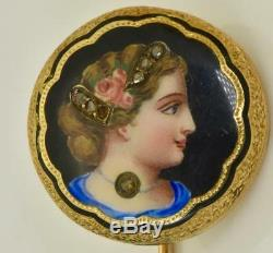 Rare antique Imperial Russian Faberge 14k gold, enamel&Diamonds pin brooch. Boxed